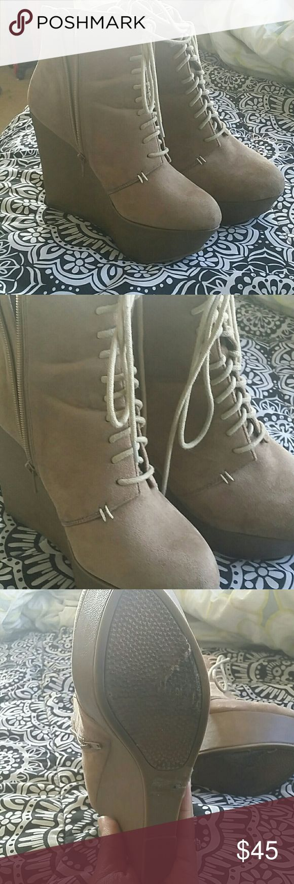 Brown suede booties Brown suede booties for any on the go outfit, really comfortable and stylish Shoes Platforms