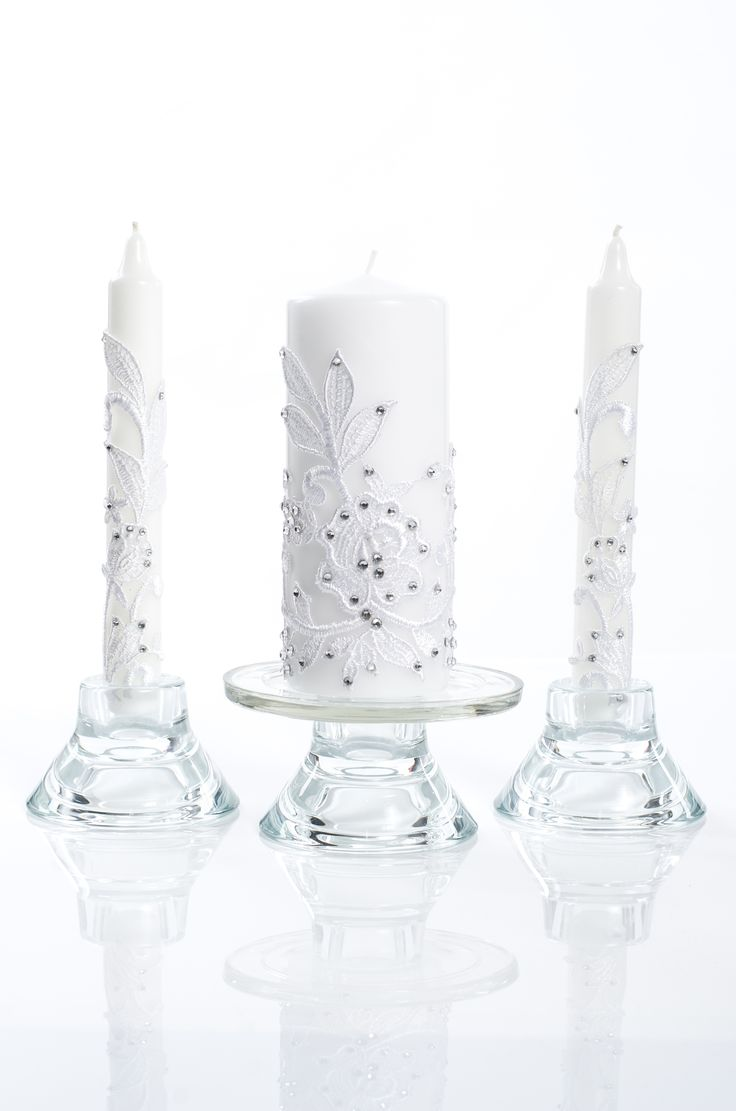 Candles, lace with roses and crystals, wedding, bridal, church, pillar candle
