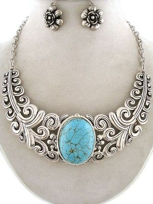 Chunky Western Cowgirl Silver Scroll Art Design Turquoise Statement Necklace Set #uniklook