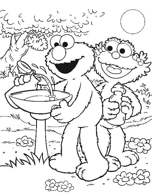 elmo with zeo taking drinks coloring for kids