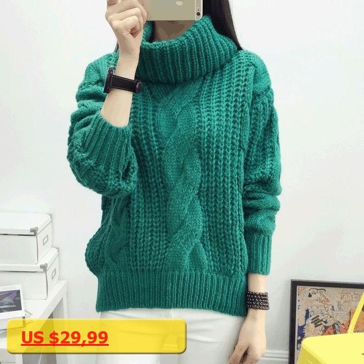 HanOrange Autumn Winter New Thick Warm Thickening Twist Loose Turtleneck Women Knit Pullover Sweater Khaki/Gray/Green/Rose Red