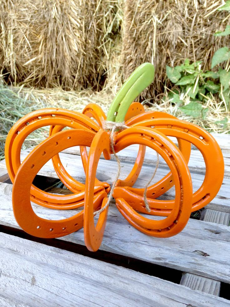 Horseshoe Orange Rustic Fall Pumpkin Home Decor
