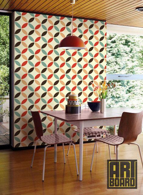 Retro Circles Pattern self adhesive DIY wallpaper by ArtBoardI