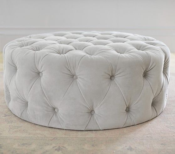 "Monique Lhuillier Round Tufted Ottoman, velvet gray fabric, thickly padded for comfort, 38.25""dia x 16""h, $399"