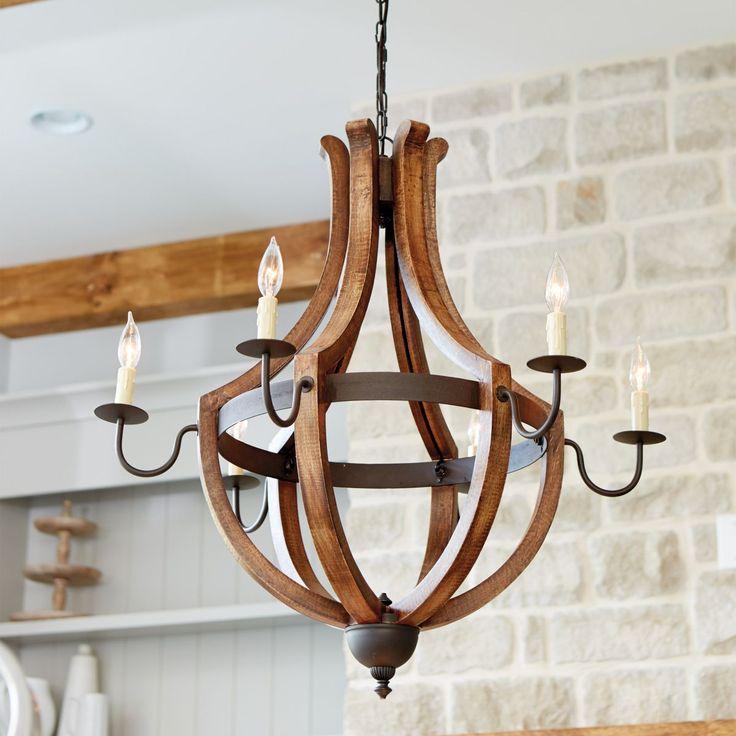 Casual Dining Room Lighting Fixtures: Wooden Chandelier, Chandelier