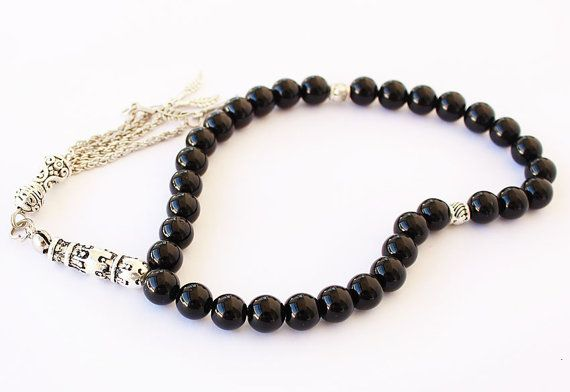 Black Onyx Prayer Beads 33 Tasbih Tesbih by asteriascollection