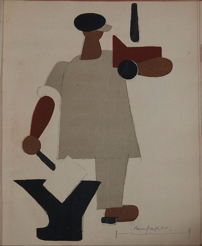 Russian placards, 1917-1922 (Vladimir Lebedev) - A workman with nationalised entreprises in his hands   da peacay