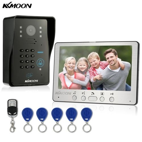 (119.53$)  Buy here - http://aidnk.worlditems.win/all/product.php?id=S1041UK - KKmoon 7 Wired Video Door Phone System Visual Intercom Doorbell with 1*800x480 Indoor Monitor + 1*700TVL Outdoor Camera + 5*RFID Card + 1*Remote Control support ID Card/Code/Remote Unlock Infrared Night View Rainproof for Home Surveillance