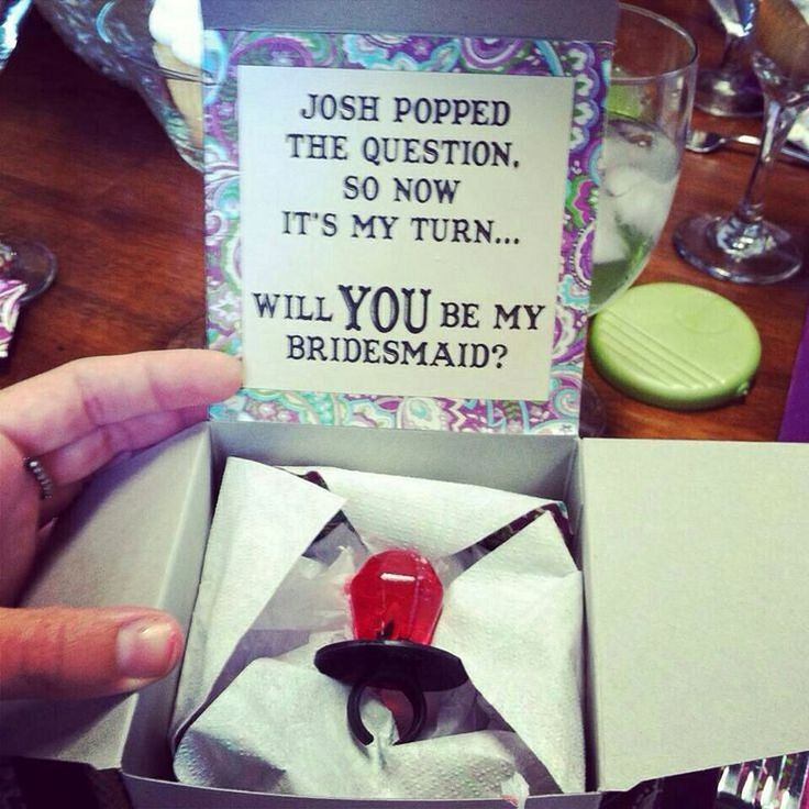 Bridesmaid ring pop ideas 10