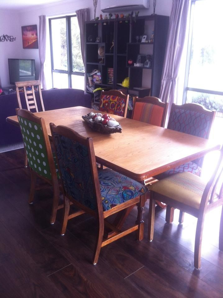 Dining room table and chairs I sanded back and refinished. This pic contains the chairs I reupholstered.  I do the chairs as the fabric finds me and when the kids completely ruin one with stains :-)