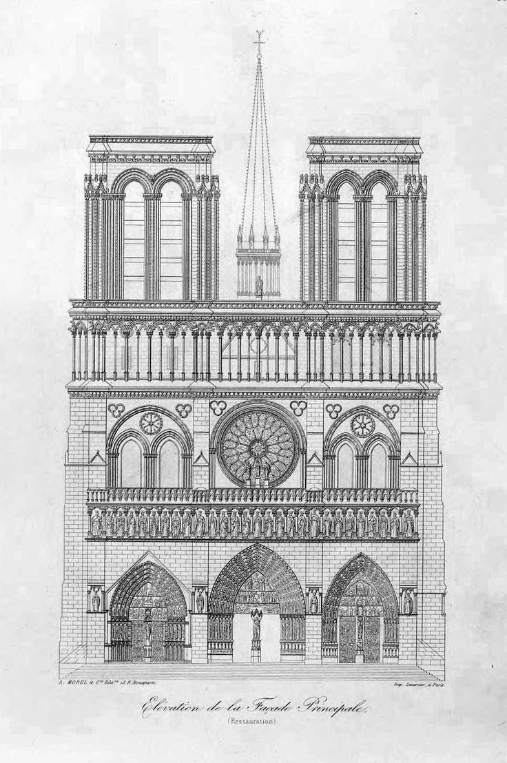 How To Draw The Front Elevation Of A Building : Front elevation of the cathedral notre dame paris