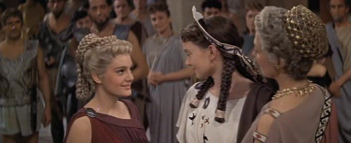 "Rossana Podestà as Helen, Janette Scott as Cassandra and Nora Swinburne as Hecuba in ""Helen of Troy (1956)"""