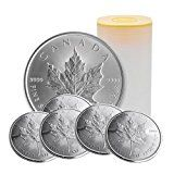 CA 2016 2016 1 oz Silver Canadian Maple Leaf $5 Coins - Roll of 25 Brilliant Uncirculated