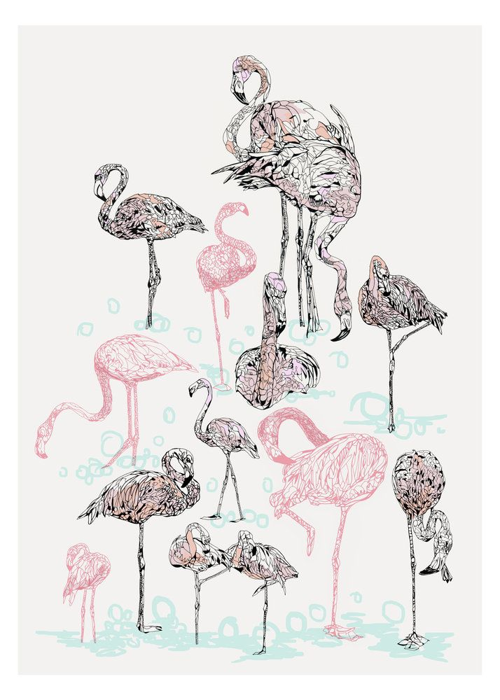 Awesome Pink Flamingos By Susie Wright | East End Prints