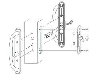 Sliding Glass Patio Door Mortise Lock Handle Set