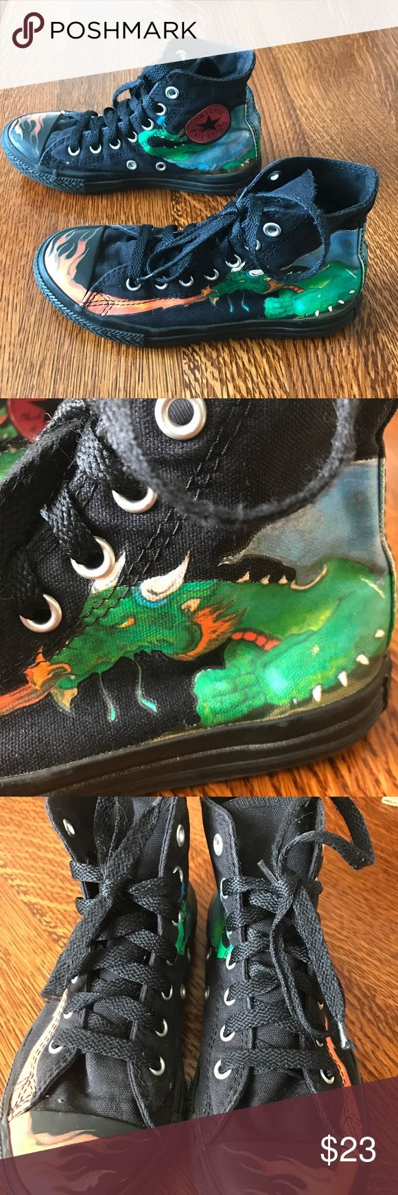Boys Converse Chuck Taylors with Dragons. Size 2 Just perfect for that dragon lover!  These are preowned and in good, clean condition. Boys size 2, adjust sizing for girls. Converse Shoes Sneakers