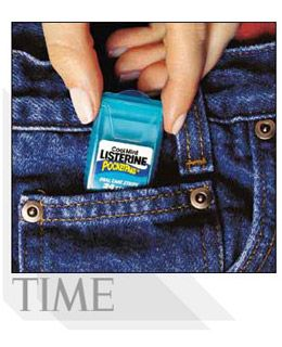 Breath Strips (2002):  Tired of seeing its venerable Listerine mouthwash (first introduced in 1914) getting chewed up in the market by various lozenges, drops and gums, Pfizer this year introduced Cool Mint Listerine PocketPaks, tissue-thin strips that melt in your mouth and deliver a bracing, breath-freshening punch.