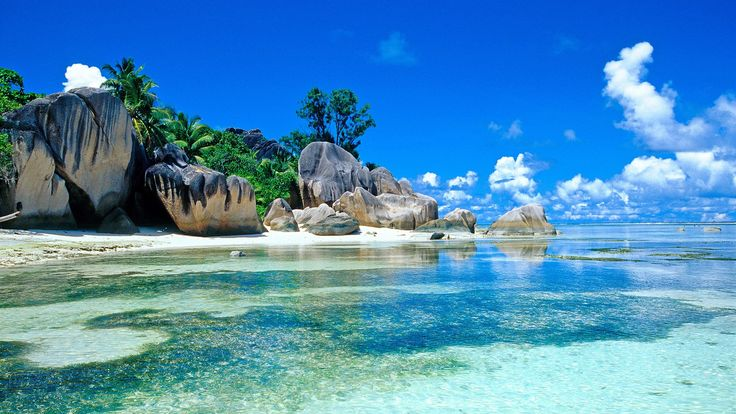 熱帯、海、岩、ビーチ、ヤシの木、空、雲 壁紙 - 1920x1080                              …