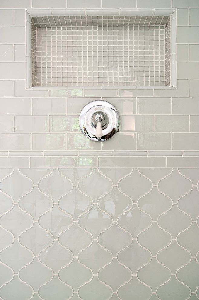 gorgeous arabesque tile in bathroom transitional with mixed tile