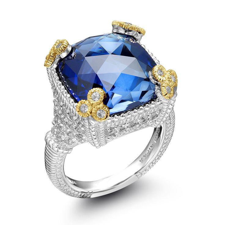 Judith Ripka Sterling Silver Monaco Corundum Sapphire & White Sapphire Ring