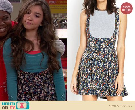 Riley's floral overalls on Girl Meets World.  Outfit Details: http://wornontv.net/38164/ #GirlMeetsWorld