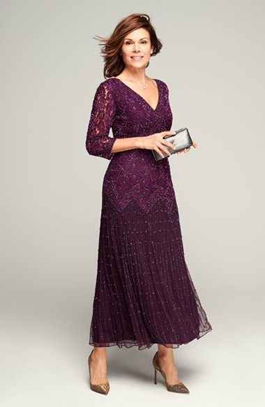 Pisarro Nights Beaded Mesh Drop Waist Dress (Regular & Petite) | Nordstrom