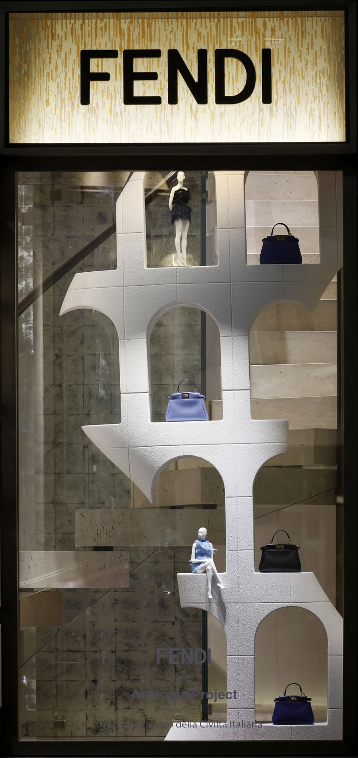 ~The Fendi window theme 'Traces of Palazzo della Civiltà Italiana' at the Milan boutique | House of Beccaria#