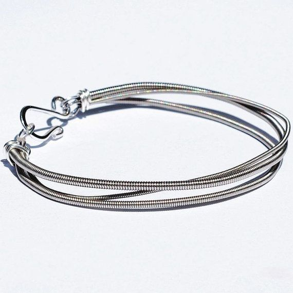 Bass Guitar String Bracelet Upcycled Jewelry by Tanith