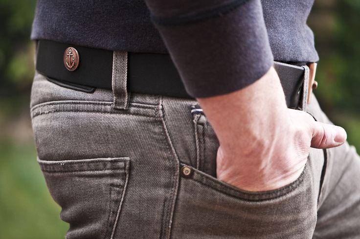 www.877workshop.com — Men's Navy belt black leather with bronze buckle