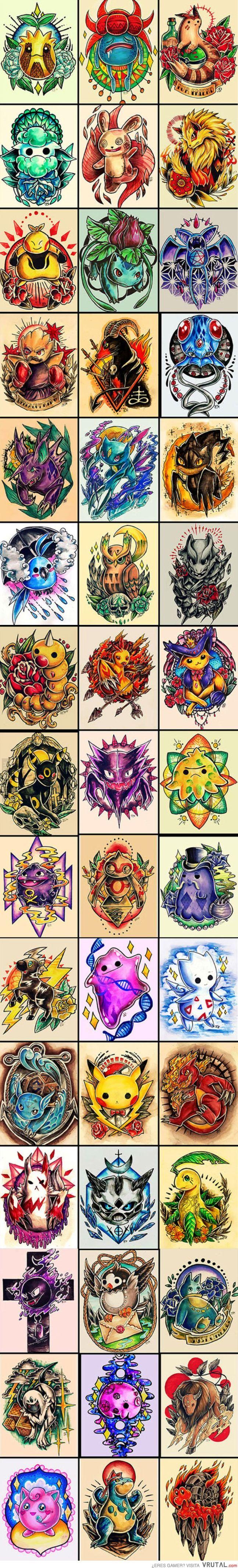 Diseños de tatuajes al más puro estilo Pokémon, ¿te harías uno?