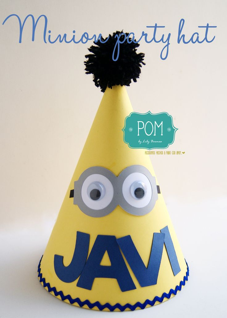 Minion party hat Colores amarillo negro y azul rey Base de cartón con detalles en cartón y ojos movibles