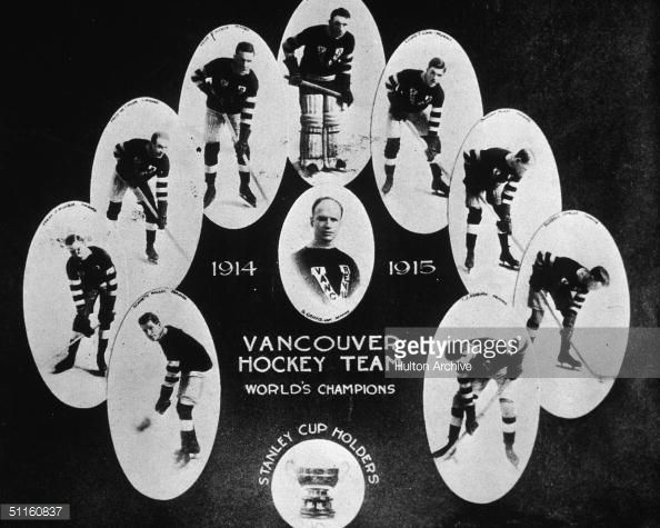 Individual team portraits of members of the 1914-1915 Stanley Cup-winning Vancouver Millionaires hockey team, 1915. Clustered around a portrait of team captain Si Griffiths are, clockwise from lower...