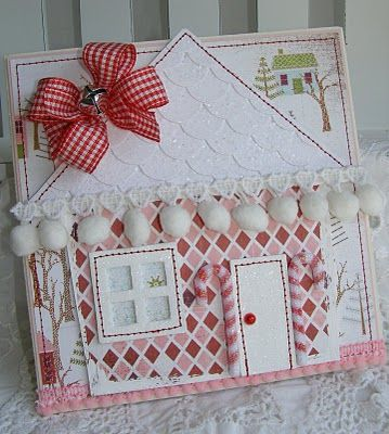 Sweet Gingerbread House   Card...with pom pom trim, bow, & jingle bell.