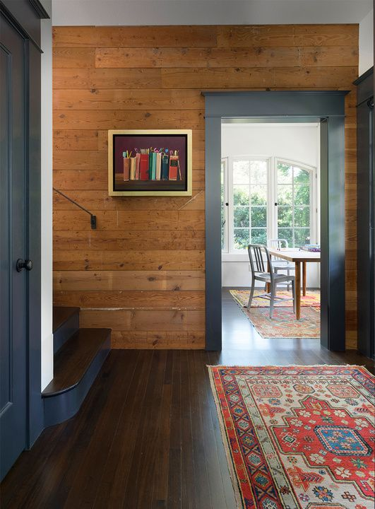 Front entry shiplap tongue groove plank paneling Wood paneling transformation
