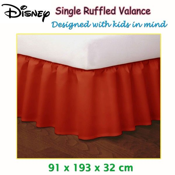 This stylish and cool looking Red Ruffled Bed Valance by Disney is a perfect addition to your kid's bedroom decor.