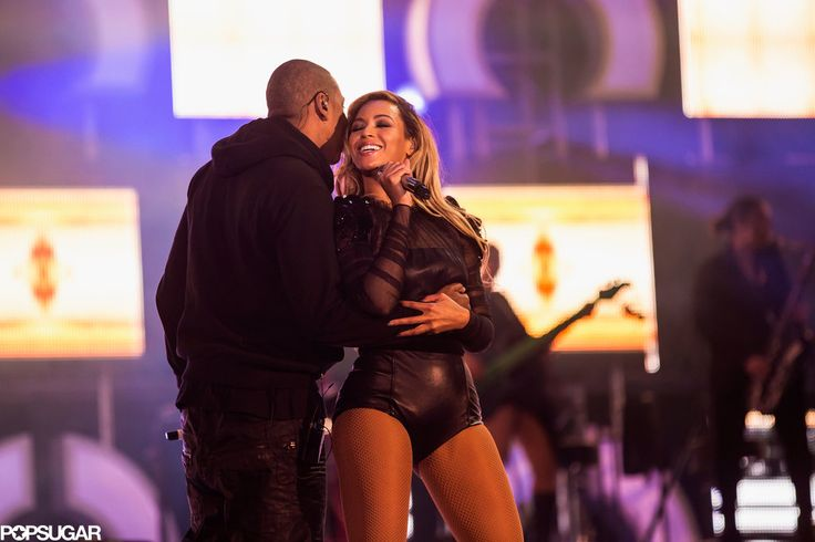 In June 2013, Jay Z surprised Beyoncé with a kiss while she was performing at the Chime For Change concert in London.