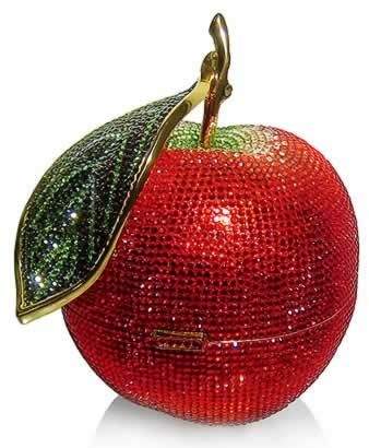 Carry the amazing Judith Leiber's Apple Clutch  from The House of Beccaria