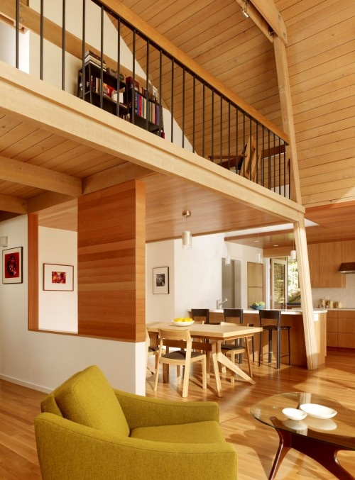 loft: Burton Architecture, Modern Dining Rooms, Kids Loft, Living Spaces, California Home, Houses Architecture, Wooden Wall, Manzanita Driving, Photo