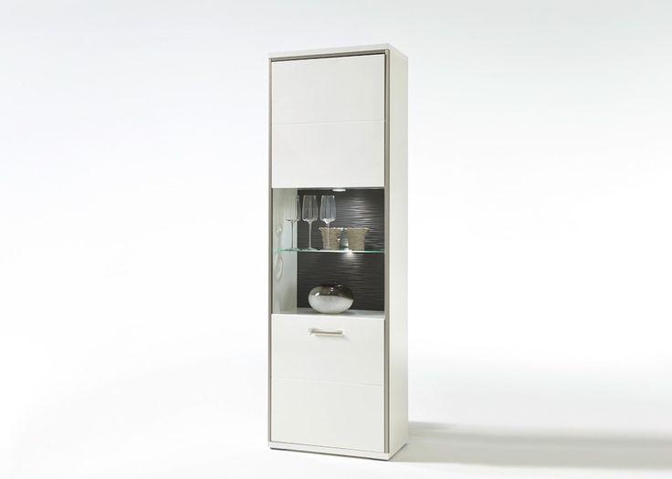 Vitrine Trento Weiß Hochglanz mit Grau 20688. Buy now at https://www.moebel-wohnbar.de/vitrine-trento-weiss-hochglanz-mit-grau-20688.html