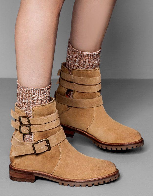Pull&Bear - mujer - zapatos mujer - bota piel motera - cuero.