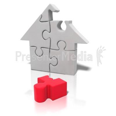 Puzzle Piece House Missing PowerPoint Clip Art