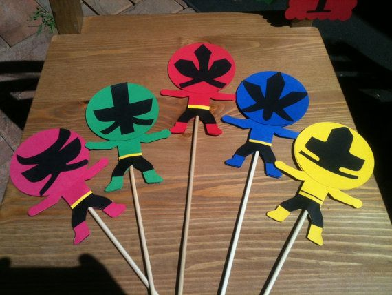 Power Rangers Samurai inspired centerpiece picks 5 pcs  by mylove4art, $25.95