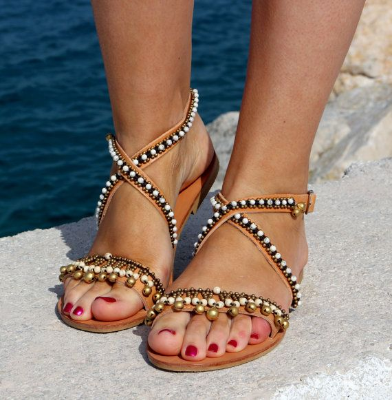 Gladiator Boho style leather sandals KO LIPE by MariaEliadi