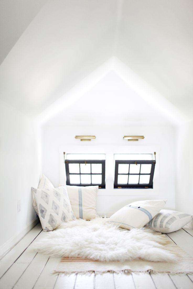 dreamy white attic office makeover by the emerald studio | on coco kelley