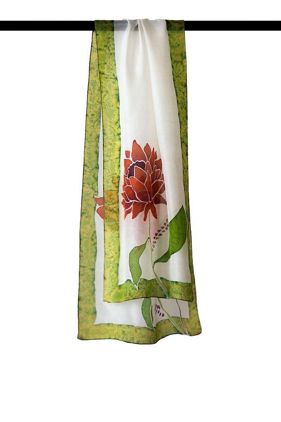 White silk scarf / floral silk scarf / hand painted silk //