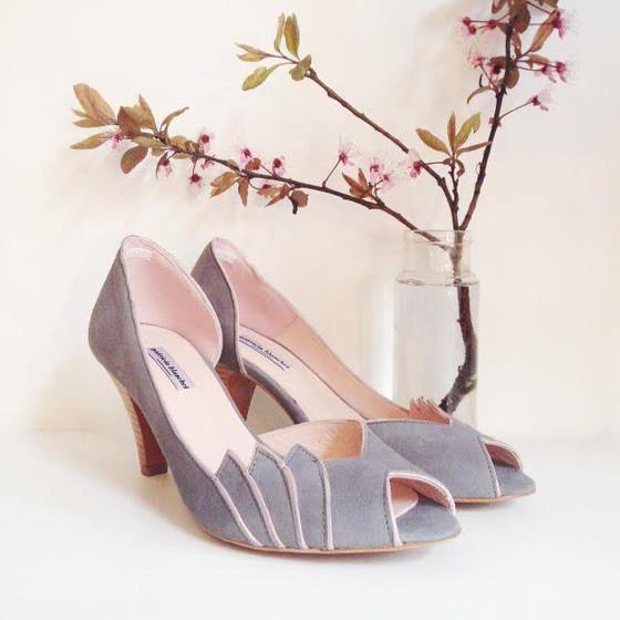 love wedding shoes addict mariage  patricia blanchet chaussures Escarpin GABY grey gris poudré