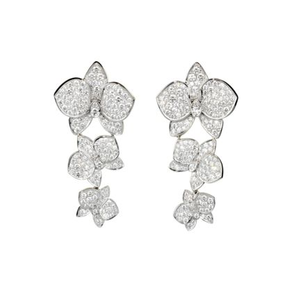 Caresse d'orchidees par Cartier earrings in white gold with diamonds.