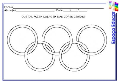 Atividades da Tia Liu: Atividade sobre as Olimpíadas de Londres: colagem com crepom - anéis olímpicos