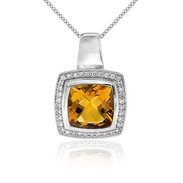 The luminescent Aura pendant design by Gerard McCabe. Featuring a 9.5mm square cut Citrine. A fabulous bright yellow-orange coloured gem. The surrounding white diamonds complete this bold look. Crafted in 18ct white gold, this pendant comes with an adjustable length chain.