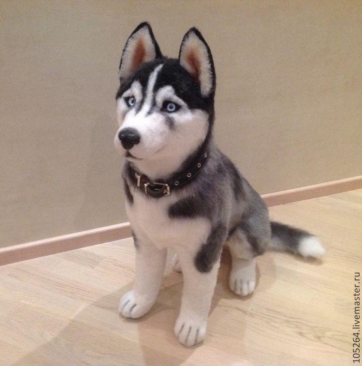 Купить Сибирский хаски - хаски, собака, авторская ручная работа, игрушка из шерсти, войлочная игрушка
